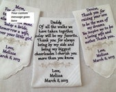 embroidered wedding hankerchiefs set of three Father Mother of the Bride and Mother of the Groom