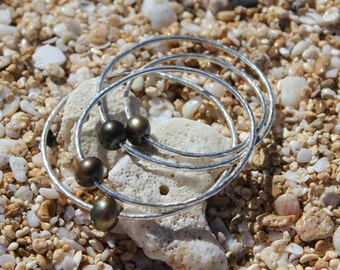 Black Freshwater Pearl Bangle Bracelet Hand Hammered Sterling Silver 12 Gauge, Handmade In Hawaii With Love