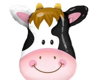 """Cow Balloon Large 32"""" Giant Contented Cow Face Foil Balloon Double Sided Farm Party Farm Birthday Helium Quality"""