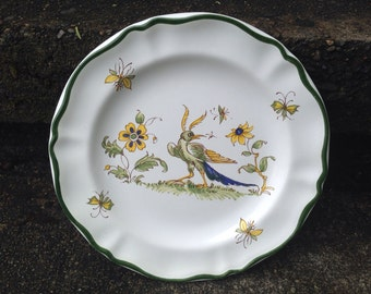 Varages Vieux Provence 8.5 inches Salad Plate Made in France Bird Flowers Bugs