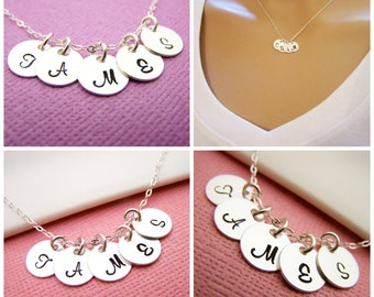 FIVE Initial Necklace - Tiny silver initial necklace - mothers necklace - grandma necklace - hand stamped initials - childrens initials
