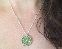 The Celiac Disease Awareness Necklace: The Life Collection/Sterling Silver/green bead/Swarovski/Czech/Ribbon/Cause/Charity/Glutenfree