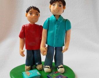 Custom Birthday Cake Topper,  Polymer Clay Cake Topper,Custom Figurine.  A  Hand Crafted Art Sculpture.