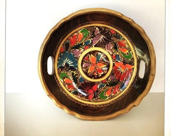 vintage hand painted wood tray oval platter Mexican folk art
