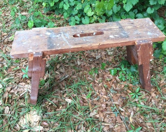 Rustic wooden bench, Primitive Bench Milk Stool, Wooden Stool, Primitive Decor, distressed stool, small bench
