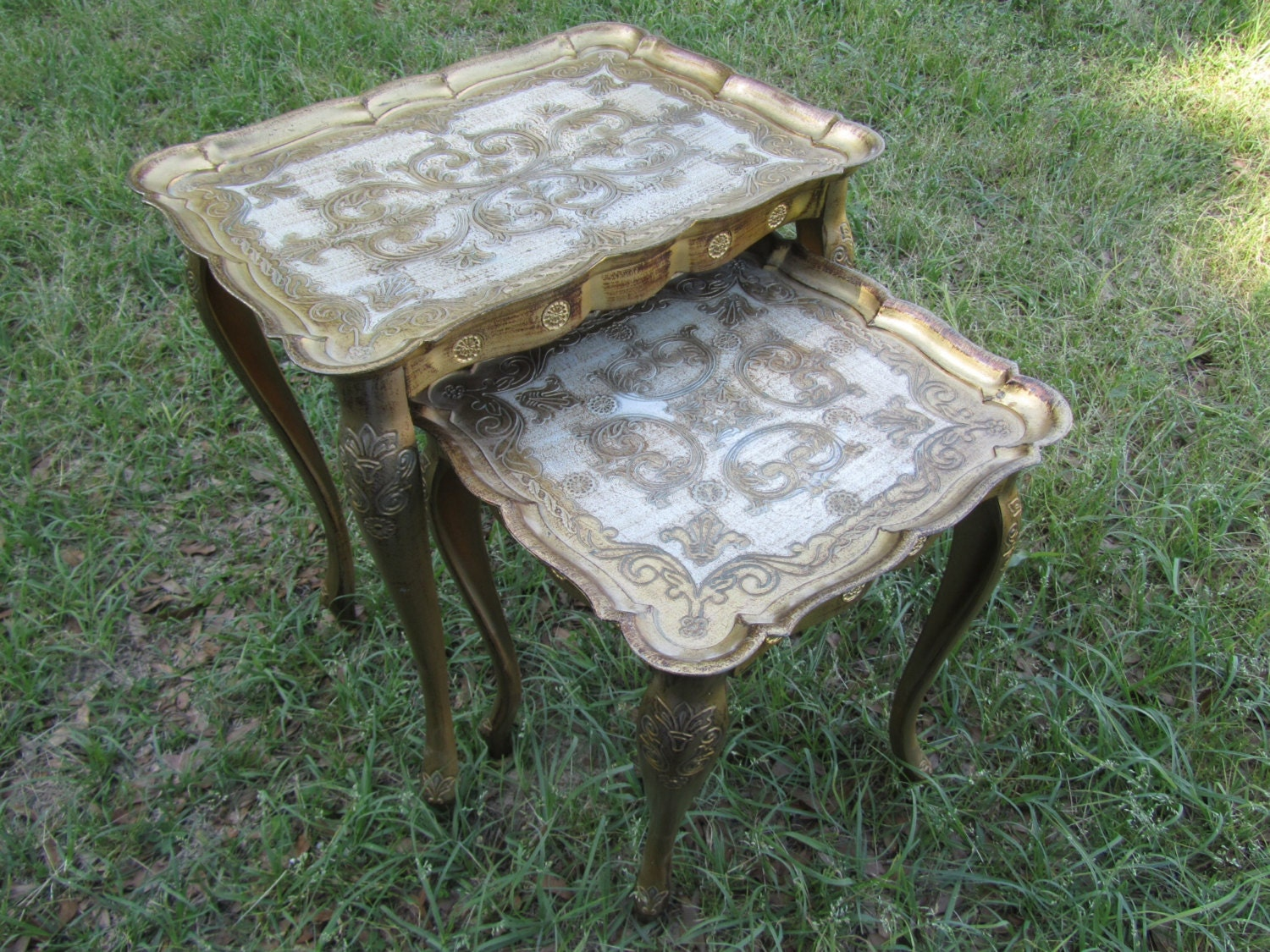 Gold Nesting Tables ~ Vintage italian gold nesting tables florentine