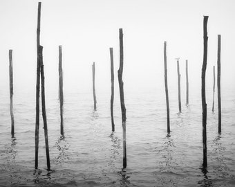 Venice Photography, Black and White Venice, Foggy Venice, Fine Art Photography, Venice in Winter Months is Quiet.
