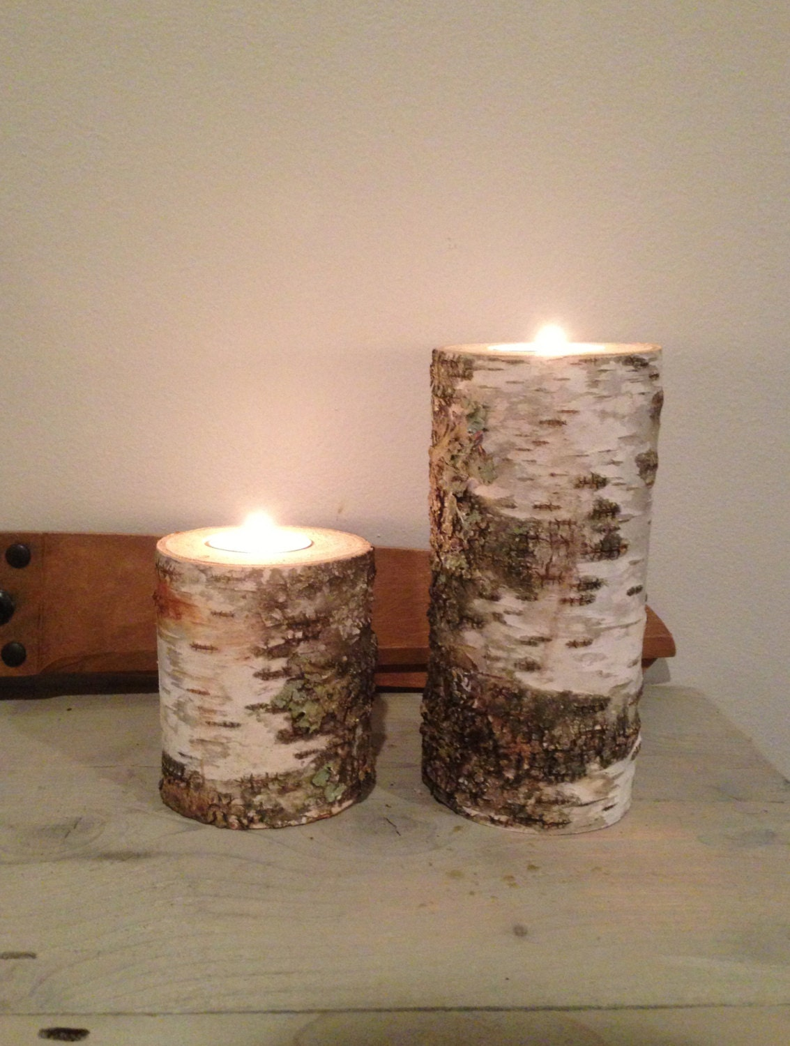 set 3 birch bark tea light candle holders by thistlequill