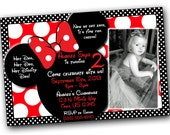Minnie Mouse Invitations, Minnie Mouse Birthday, Red Minnie Mouse invitations, Minnie Mouse party