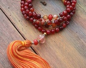 Beautiful faceted agate mala necklace