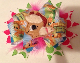 Inspired Apple Jack Pony stacked Hair Bows