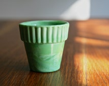 Vintage Akro Jadeite Green Glass Flower Pot made in USA