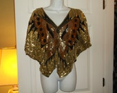 Vintage Butterfly Top - Gold Sequins On Black Silk