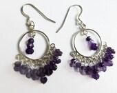 Amethyst sterling silver chandelier earrings, ladies earrings, Zambian real amethyst earrings, amethyst birthstone earrings, purple earrings