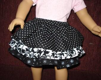 Ruffled skirt  one black prints 18 inch doll