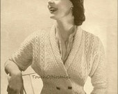 1940s DOLMAN Sleeve CARDIGAN Sweater Knitting Pattern WW2 Era  - Double-Breasted /  Shawl Collar / Unique Cable Pattern