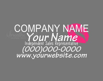 Custom Independent Sales Representative Car Decal with Lips- Makeup Sales Advertising