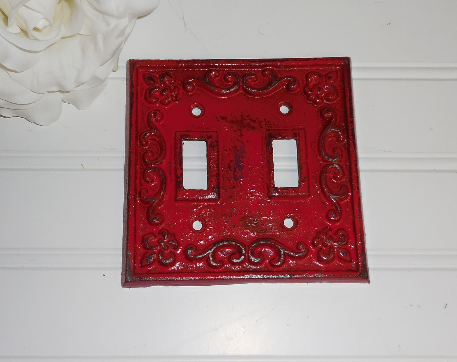 Banner red decorative light switch plate double by for Decor light switch