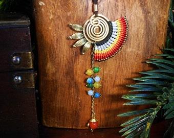 rainbow macrame long pendant necklace