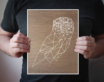 B14 - Geometric bird art print- White Owl over wood