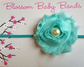 Teal Headband, Teal Newborn Headband, Headbands Teal, Baby Headbands, Shabby Chic Headbands, Photography Prop