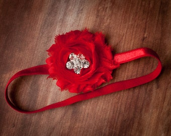 FREE SHIPPING! Valentine's Headband, Red Headband, Newborn Headband, Red Baby Headband, Red Flower Headband
