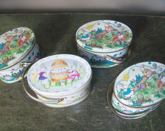 Set of 4 Vintage Easter Tins with Handles Bunny Rabbit