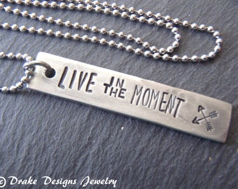 live in the moment be present now inspirational jewelry