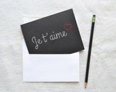 Je T'Aime Card with Hand Embroidered Script Typography - French Valentine