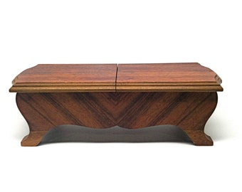 Mid Century Carved Wood Cigarette Box Divided