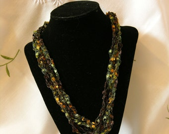 Rainforest Green and Gold Crochet necklace