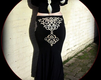 Belly Dance Mermaid Skirt ~ Arabic Bellydance Witchy Tribal Fusion Morticia ~ Tattoo Style Flared Bottom ~ Long Trumpet Fishtail Black Skirt