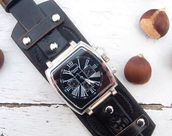 Mens Leather watch, OM wrist watch, Black rustic leather Wrist Watch, Esoteric, Leather cuff watch,