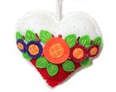 """Valentine's Day Ornament """"Heart"""" made out of felt . Decorated with beads. Heart cushion"""