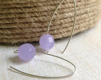 SALE! - Periwinkle Blue Dangle Earrings, Simple, Minimalist, Silver Earwires and Faceted Glass Beads - Handcrafted