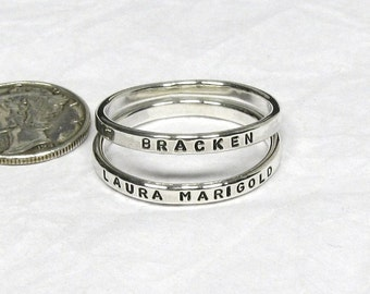 Sterling Silver Name Rings - 2 mm, Stackable Name Rings, Mom Rings, Silver Promise Rings