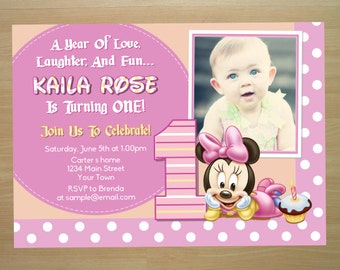 Minnie Mouse 1st Birthday Invitation - Digital File (Printing Services Available)