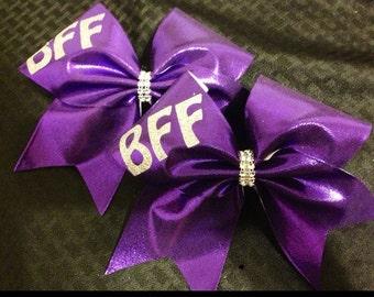 2 purple best friend BFF Cheer Bows