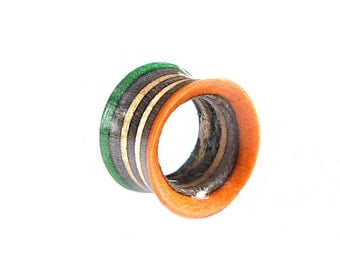 Recycled Skateboard Single Tunnel, Plugs and Tunnels, Ear Gauges, Broken Skateboards, Wooden Green & Orange Plug, Wooden Plug Tunnel