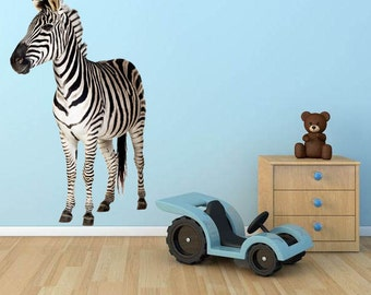 WSD130 - Large zebra standing removable animal wall sticker - Animal photo wall decal