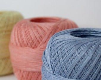 lace weight Linen yarn  - pastel mix