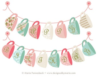Tea Party Happy Birthday Banner Printable Decoration: Shabby Chic Tea Cup Design in Pink & Turqoise