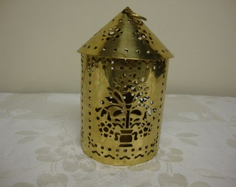 Ornate Brass Candle Lantern