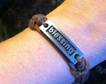 Leather Blessing Bracelet, Adjustable Bracelet