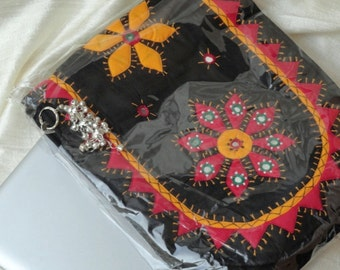 Indian Laptop Bag. Cool Indian, ethnic iPad, MacBook black red and yellow bag. University Teen Laptop Bag. Day or evening bag. From Artkrti.
