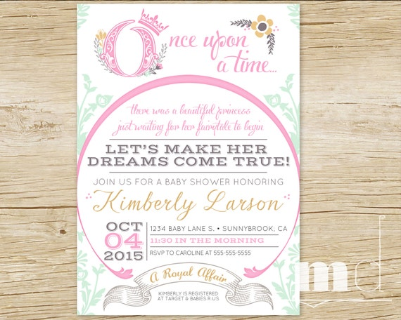 once upon a time baby shower invitations fairytale baby, Baby shower invitations