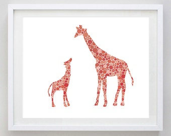 Mamma and Baby Giraffe Watercolor Art Print in Red Dots