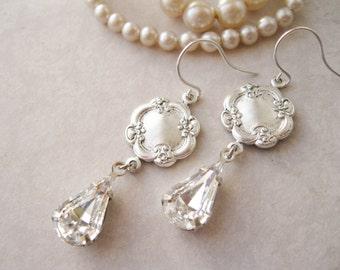 Vintage Style Crystal Earrings, Crystal Teardrop Earrings, Romantic Wedding Jewellery, Rococo Style, Estate Style Jewellery, Antique Silver