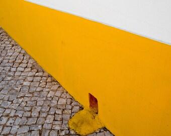 Amarelo. | Silves, Portugal Cobblestone Village  Algarve White Yellow Tan Fine Art Photography  8x10