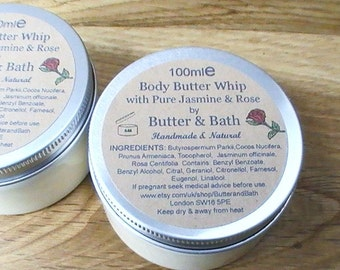 Whipped Body Butter, Natural Jasmine and Rose Body Lotion, Shea Butter Body Cream 100ml